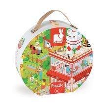 Detské puzzle do 100 dielov - Puzzle U veterinára so zvieratkami Janod v okrúhlom kufríku 36 dielov od 4 - 7 rokov_1