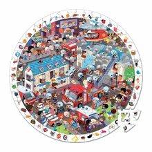 Kulaté puzzle Hasiči Janod v kulatém kufříku 208 dílů od 6 - 9 let