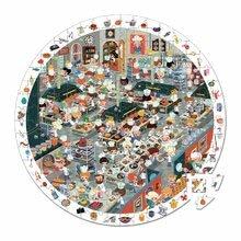 Okrúhle puzzle Kuchyňa reštaurácie Janod v okrúhlom kufríku 208 dielov od 6 - 9 rokov