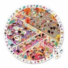 Puzzle Škola Janod v okrúhlom kufríku 208 dielov od 6 - 9 rokov