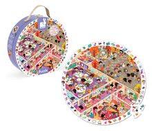 Detské puzzle od 100-300 dielov - Puzzle Škola Janod v okrúhlom kufríku 208 dielov od 6 - 9 rokov_0