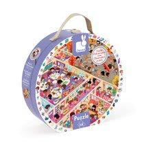 Detské puzzle od 100-300 dielov - Puzzle Škola Janod v okrúhlom kufríku 208 dielov od 6 - 9 rokov_1