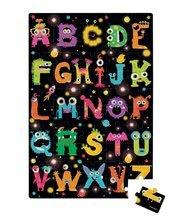 Puzzle Giant Floor ABC Príšerky Janod v okrúhlom kufríku 50 dielov od 4 - 7 rokov