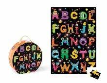 Detské skladacie koberce - Puzzle Giant Floor ABC Príšerky Janod v okrúhlom kufríku 50 dielov od 4 - 7 rokov_0