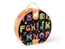 Detské skladacie koberce - Puzzle Giant Floor ABC Príšerky Janod v okrúhlom kufríku 50 dielov od 4 - 7 rokov_1