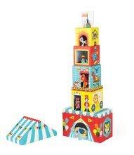 Vývoj motoriky - Skladacia pyramída Multikub Circus Janod s 5 drevenými figúrkami od 12 mes_3