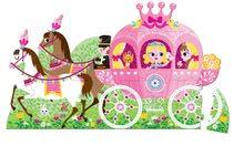 Gyerek puzzle Floor Hercegnő hintóban Janod kerek bőröndben 39 db 4-7 éves korosztálynak