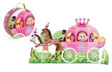 Detské skladacie koberce - Puzzle Floor Princezná v koči Janod v okrúhlom kufríku 39 dielov od 4 - 7 rokov_0