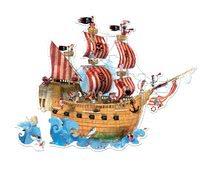 Puzzle Floor Pirátska Loď Janod v okrúhlom kufríku 39 dielov od 4 - 7 rokov