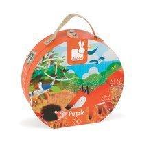Detské puzzle do 100 dielov - Puzzle Zvieratká v lese Janod v okrúhlom kufríku 24 dielov od 3 rokov_1