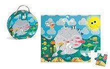 Detské puzzle do 100 dielov - Puzzle Oceán s rybami Janod v okrúhlom kufríku 24 dielov od 3 - 6 rokov_1