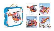 Detské puzzle do 100 dielov - Puzzle Pierrova helikoptéra Janod v kufríku 6-9-12-16 dielov od 3 - 6 rokov_0