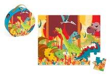 Detské puzzle do 100 dielov - Puzzle Dinosaurus Janod v okrúhlom kufríku 24 dielov od 3 - 6 rokov_0