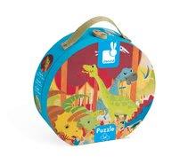 Detské puzzle do 100 dielov - Puzzle Dinosaurus Janod v okrúhlom kufríku 24 dielov od 3 - 6 rokov_1