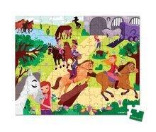 Detské puzzle od 100-300 dielov - Puzzle Jazda na koni Janod v okrúhlom kufríku 100 dielov od 5 - 8 rokov_0