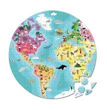 Obojstranné puzzle Naša Modrá Planéta Janod v okrúhlom kufríku 208 dielov od 6 - 9 rokov