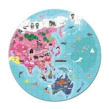 Detské puzzle od 100-300 dielov - Obojstranné puzzle Naša Modrá Planéta Janod v okrúhlom kufríku 208 dielov od 6 - 9 rokov_1