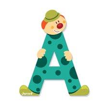 Dekorácie do detských izieb - Drevené písmeno A Clown Letter Janod lepiace 9 cm zelené/fialové/červené/modré_0