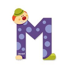 Dekorácie do detských izieb - Drevené písmeno M Clown Letter Janod lepiace 9 cm modré/zelené/fialové/ružové od 3 rokov_0