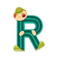 Dekorácie do detských izieb - Drevené písmeno R Clown Letter Janod lepiace 9 cm svetlozelené/tmavozelené/modré/ružové od 3 rokov_0