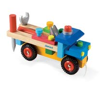 Dřevěná stavebnice pro děti auto Redmaster Bricolo Janod s nářadím od 2 let 17 dílů