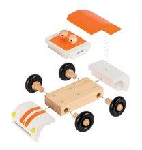 Autíčka - Drevená magnetická skladačka Auto Roadster Kit Magnet Janod 9 dielov oranžové od 24 mes_0