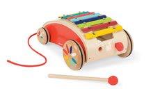 Dětský dřevěný vozík s xylofonem Red Tatoo Janod na tažení od 18-36 měsíců