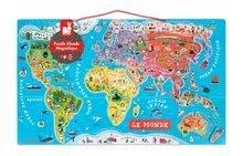 Magnetická mapa sveta Magnetic World Puzzle francúzska verzia Janod 92 magnetov od 5 rokov