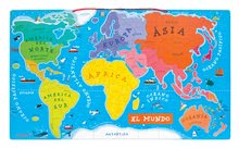Magnetky pre deti - Magnetická mapa sveta Magnetic World Map španielska verzia Janod _0