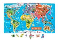 Magnetky pre deti - Magnetická mapa sveta Magnetic World Map španielska verzia Janod _1