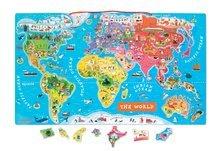 Magnetky pre deti - Magnetická mapa sveta Magnetic World Puzzle English Version Janod 92 magnetov od 5 rokov_1