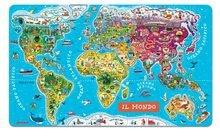 Magnetická mapa světa World Map Italian Version Magnetic Janod 92 magnetů od 5 let