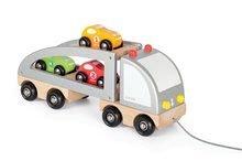 Drevený kamión Multi Cars Truck Janod na ťahanie s autíčkami od 24 mes