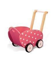 Drevený kočík pre bábiku Framboisine Doll's Pram Janod chodítko od 1 roka