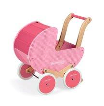 Dřevěný kočárek pro panenky Mademoiselle Janod růžový s peřinkou od 18 měsíců