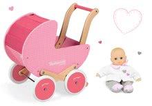 Set drevený kočík pre bábiky Mademoiselle Janod ružový s perinkou a darček bábika
