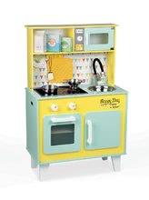 Dětská elektronická dřevěná kuchyňka Happy day Janod se zvukem a světlem a 7 doplňky zeleno-žlutá