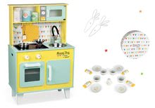 Set drevená kuchynka elektronická Happy Day Janod zelená a porcelánová obedová súprava