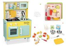 Set dřevěná kuchyňka elektronická Happy Day Janod zelená a dřevěné ovoce a zelenina