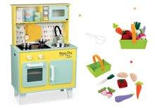 Set drevená kuchynka elektronická Happy day Janod zelená a textilné ovocie v košíku