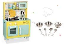 Set dřevěná kuchyňka pro děti elektronická Happy day Janod zelená a pochromované nádobí 7 kusů