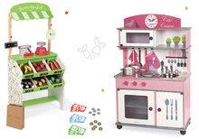 Set dřevěná dětská kuchyňka Cote Janod růžová na kolečkách a obchod s pokladnou a potravinami