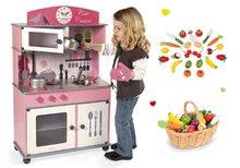 Set dřevěná dětská kuchyňka Cote Janod růžová na kolečkách a dřevěné ovoce a zelenina v košíku