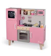 Dřevěná kuchyňka Macaron Big Cooker Janod elektronická, se zvukem a světlem a 15 doplňky růžová