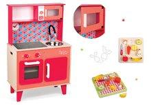 Set drevená kuchynka pre deti Spicy Cooker Janod červená a drevené ovocie a zelenina