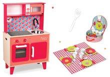 Szett fa játékkonyha Spicy Cooker Janod piros és ebédkészlet bőröndben