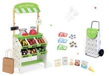 Set dřevěný obchod s pokladnou Green market Janod a váhou, ovoce a zelenina a nákupní taška