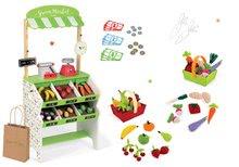 Set dřevěný obchod s pokladnou Green market Janod a váhou, ovoce a zelenina a textilní košíky