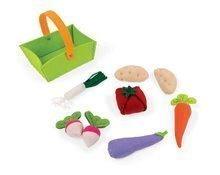 Textilný košík pre deti Janod plstený s 8 druhmi zeleniny od 2 rokov