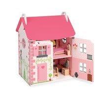 Dřevěný domeček pro panenky Mademoiselle Janod dvoupodlažní s dřevěným nábytkem růžový